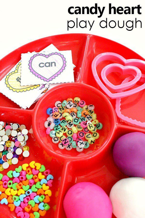 candy heart play dough invitation and free printable sight word cards for preschool and kindergarten Valentine's Day activities