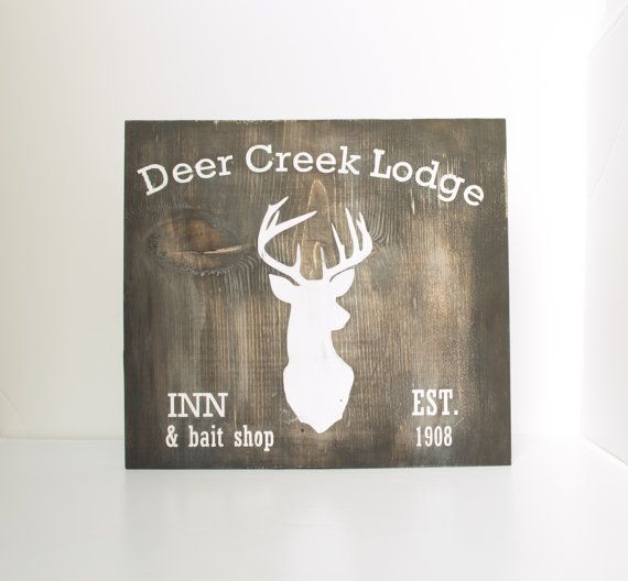 Rustic wood sign  Deer creek lodge deer head by RusticBabyBoutique, $32.00