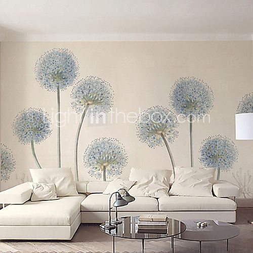 Art Deco Wallpaper For Home Wall Covering Canvas Adhesive Required Mural Light Blue Dandelion Simple Style XXXL(448*280cm) 2017 - $150.99