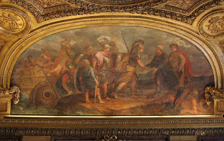 Château de Versailles, salon de Diane, Jason et les Argonautes débarquant en Colchide, Charles de La Fosse - Kolhis - Vikipedi-Fransa, Versailles Sarayı, 17. yy Charles de Lafosse'nin çalışması. Argonotlar ve Laz Kralı Aietes(Kartal). Yeni güç merkezleri; Osmanlı kıyafetleri içinde resmedilmiş Lazlar, Batı Avrupa tarzında resmedilmiş Yunanlar. Gerçekte bu karşılaşma ölüm tehdidiyle başlasa da burada önemli olan sağ altta Prometheus, kutsal Kolkhis Kartalı'nın altında ilk kadın Pandora'ya ve…