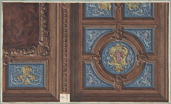 Jules-Edmond-Charles Lachaise | Design for Dining Room Ceiling, Hôtel de Behague | The Met