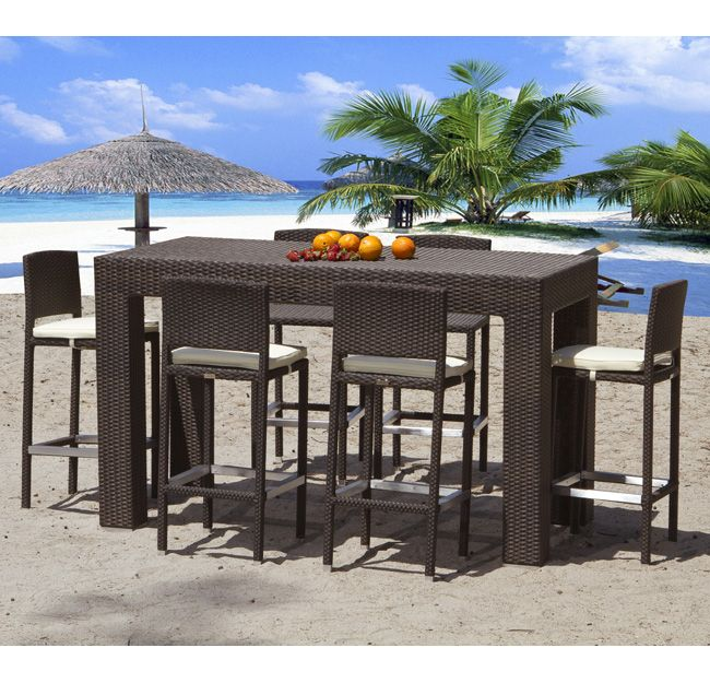 $2,785 Table + 4 Chairs (with Backs) Modern Outdoor Wicker High Top Table  Set