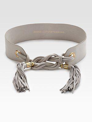 Diane von Furstenberg - Julie Wide Leather Tassel Belt.