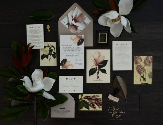 KAROLINA SUITE // Magnolia Wedding Invitation by CitrusPressCo