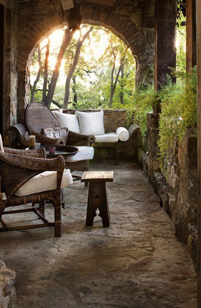 lovely : Stones Porches, Cups Of Coff, Patio, Back Porches, House, Places, Outdoor Spaces, Good Books, Front Porches