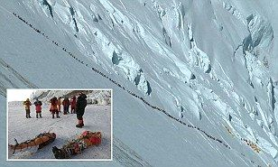 The traffic jam at 30,000 feet: Chilling photo shows dozens of climbers trying to reach the summit of Mount Everest after four died when they became stuck in a bottleneck | Daily Mail Online