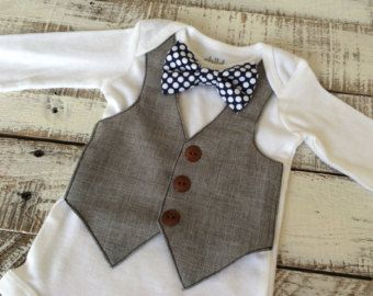 Blue Bowtie Wedding Outfit- Grey Vest - Faux Vest with Snap Bowtie - Baby Formal Wear - Baby Birthday Outfit