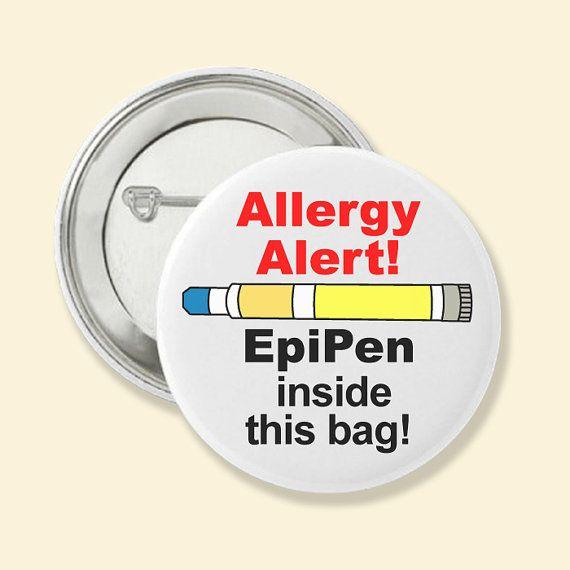 Pinback Button  Allergy Medical Alert   by AllergyTagsAndMore, $3.75