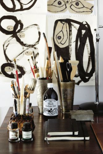 Habitually Chic®: Chic Repeat: Malene Birger: Art Studios, Zen Art, Work Spaces, Workspaces, Desks, Random Stuff, Malena Will Someday, Paintings Brushes, Art Supplies