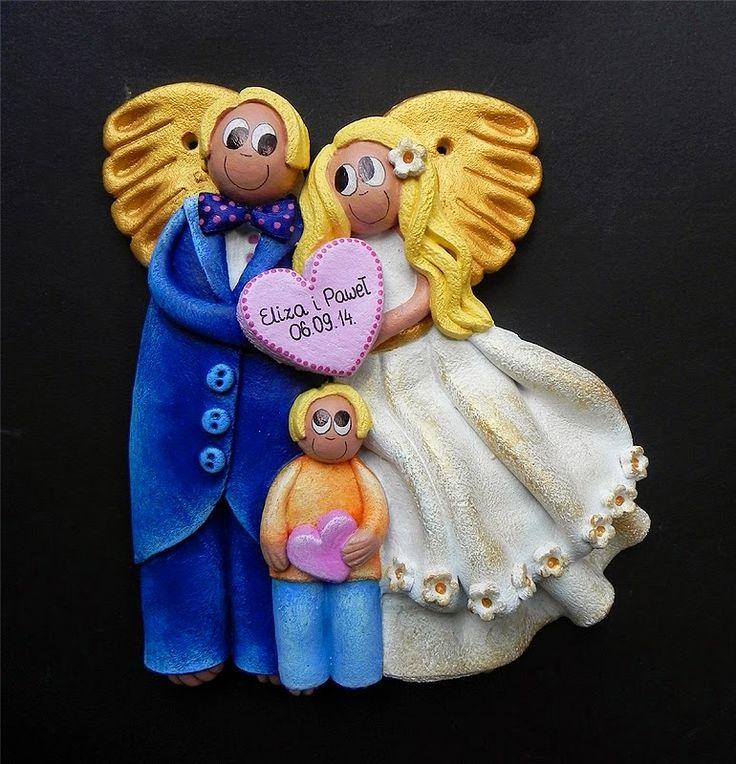 Decokuferek - rękodzieło artystyczne, masa solna, papierowa wiklina, decoupage: Aniołki ślubne i chłopięce anioły na chrzest ...