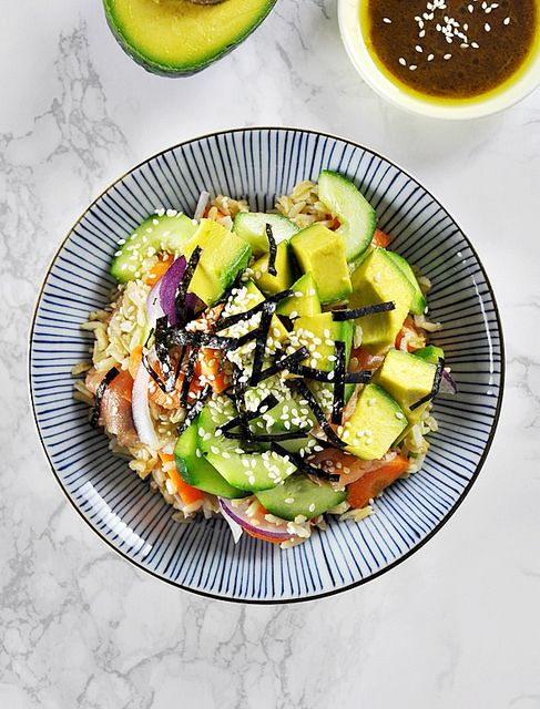 Smoked Salmon, Avocado & Brown Rice Sushi Bowl | www.fussfreecooking.com by fussfreecooking, via Flickr
