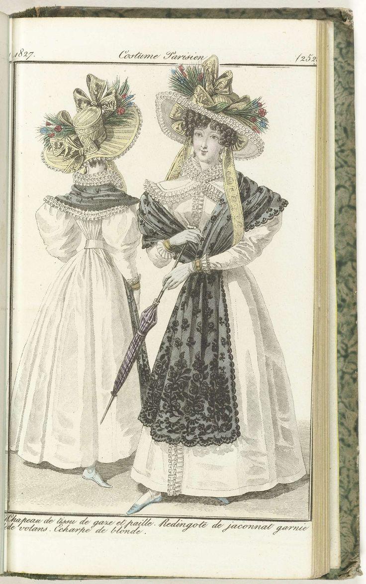 Anonymous | Journal des Dames et des Modes, Costume Parisien, 25 août 1827, (2529): Chapeau de tissu de gaze..., Anonymous, Pierre de la Mésangère, 1827 | Hoed van gaze en stro, versierd met strikken en bloemen. Redingote (jasjurk) van 'jaconnat', gegarneerd met stroken afgezet met 'rouleaux' van satijn.  Omslagdoek van blonde (kloskant) Verdere accessoires: oorbellen, handschoenen, parasol. Figuur in eenzelfde japon, op de rug gezien. De prent maakt deel uit van het modetijdschrift Journal…