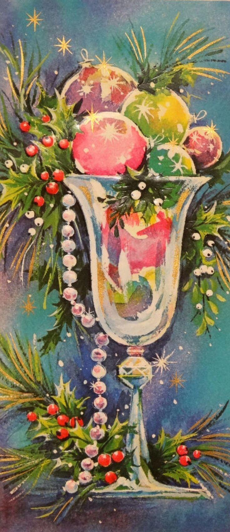 Vintage Christmas card  So pretty! Aj.