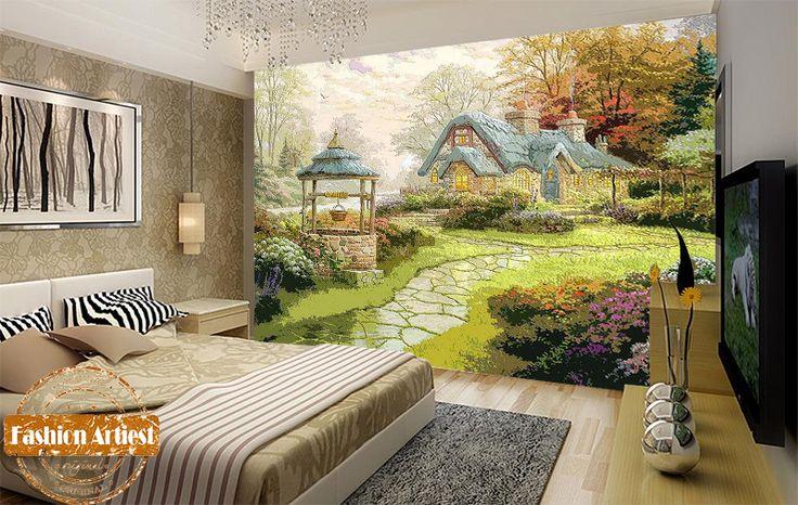 Custom cartoon children wood carving wallpaper mural Wizard of Oz fantasy house in forest tv sofa kids girl bedroom living room
