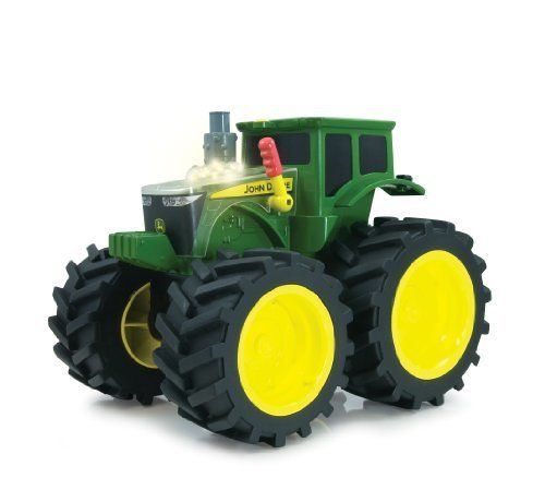 Tomy International John Deere Monster Treads Roar N Rumble Tractor by Tomy International. Save 25 Off!. $29.99. Age 3 years and up. Real smoking exhaust action. Shaking hood. Lights and sounds. From the Manufacturer                Ready to topple anything that lies in their path, Monster treads combine the power of John Deere with the off-road excitement of monster truck styling. This tractor features shaking hood action, lights, sounds and real smoking action.              ...