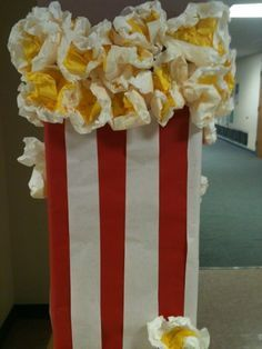 Large Popcorn Prop/Decoration for a Movie-Themed Party/Event - Made from Colored Butcher & Tissue Paper