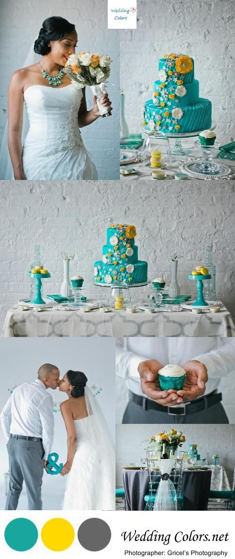 Teal, Yellow and Grey Wedding Palette