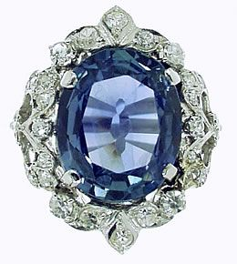 Belle Epoque:sapphire and diamond ring, sapphire weighs 12.15cts and the diamonds weigh approximately 0.70cts in total.