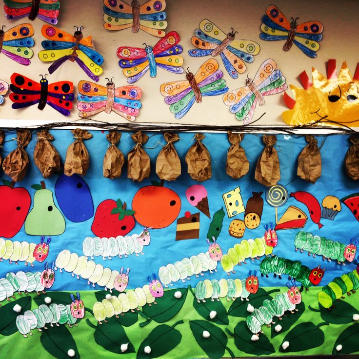 1000 ideas about caterpillar bulletin board on pinterest for Eric carle mural
