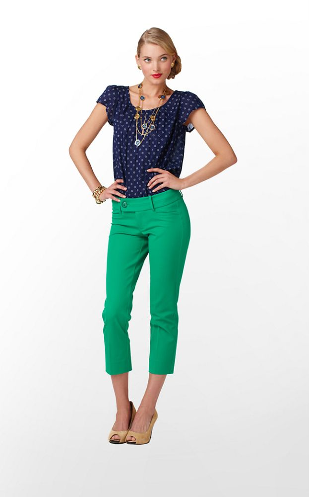 And The Winner Is..Emerald Green cropped pants and polka dot blue top[