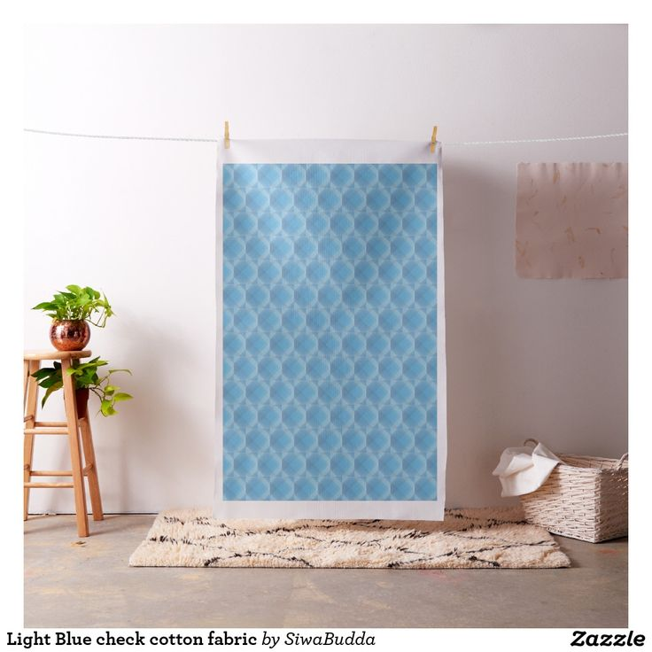 Light Blue check cotton fabric