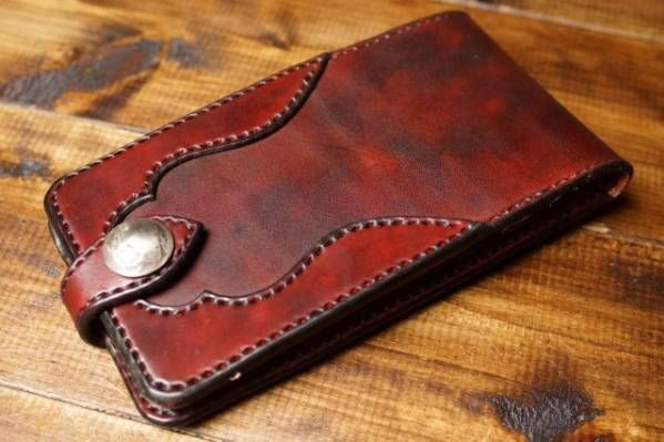 サドルレザーiPhone 6PLUSケース ラフ染めバーガンディーD_画像1
