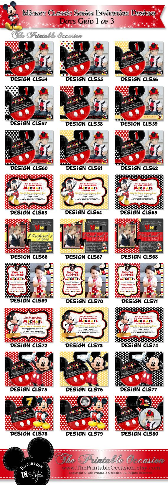 HUGE+SELECTION+Mickey+Mouse+Red+Yellow+by+ThePrintableOccasion,+$11.00