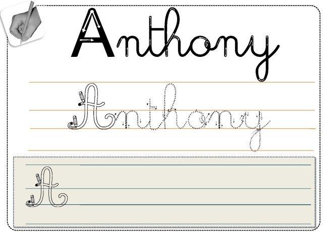 matrice écriture prénom en cursive à glisser dans une pochette pour s'entraîner régulièrement