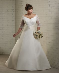 Long Lace Sleeves Plus Size Bridal Wedding Dress Wedding Gown 2012 $169.00