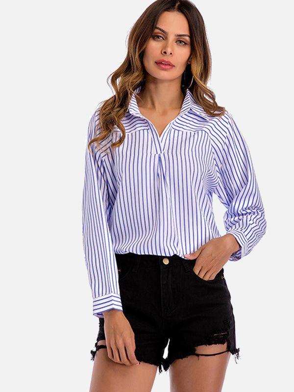 Spring Women Chiffon Blouse Split V Neck Cuffed Sleeve Striped Blouses Shirt Top