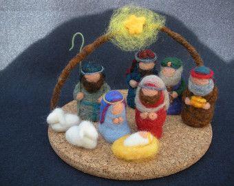 Belén de Navidad aguja de fieltro con lana