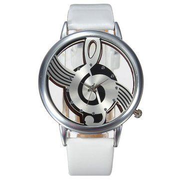 Fashion Hollow Music Melody Note PU Leather Band Analog Quartz Wrist Watch at Banggood
