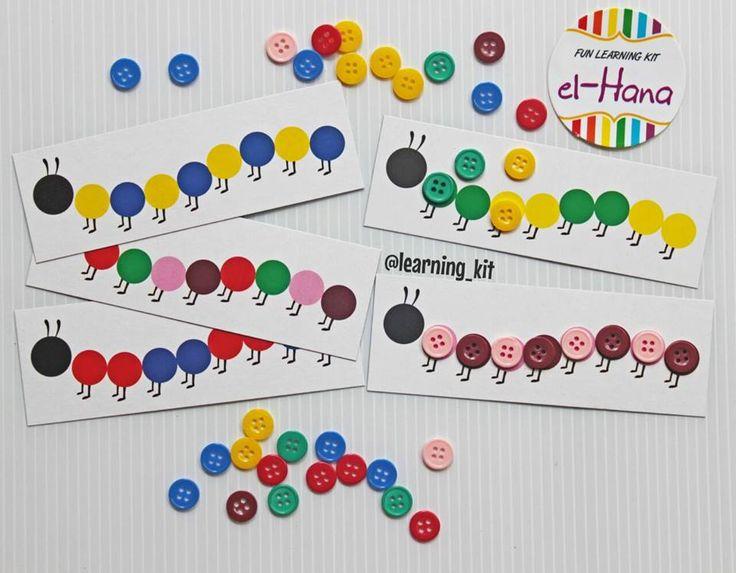 Caterpillar : arrange the buttons corresponding pattern caterpillar card