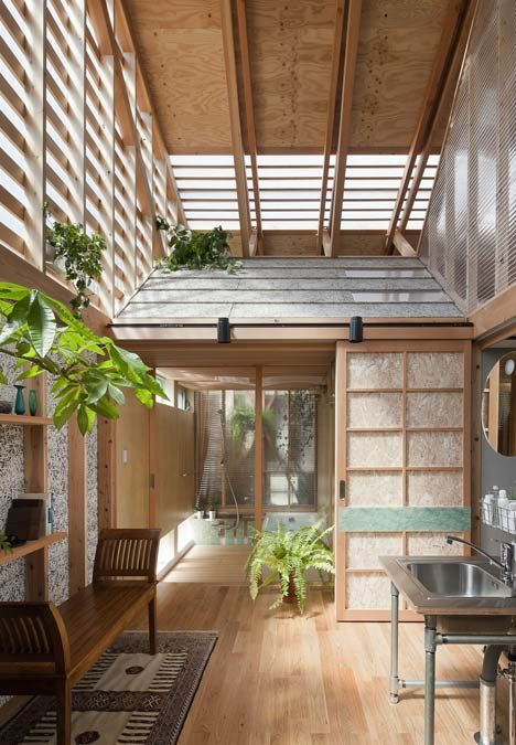 The tiny houses have corrugated slate roofs and chipboard screen doors in the traditional Japanese style, and they contain the bedrooms, bathroom and living room.Outside (Outside) ((Outside)) house within a house by a.a.+H