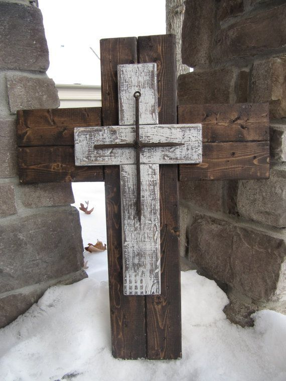 rustic wood cross wall   Wood cross Repurposed wood cross rustic by BlessHerHeartDesigns, $45 ...