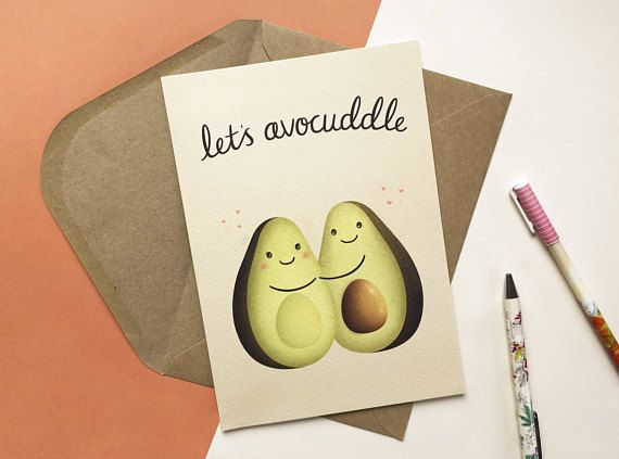 This little greeting card features my illustration Lets Avocuddle. - A5 greeting card - Blank inside for your own personal message - 300gsm textured gesso paper - Includes envelope - Digitally printed in the UK - Comes to you in a protective cellophane packet Thank you for visiting.