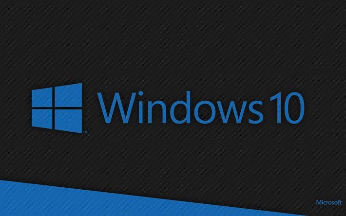 Download wallpapers 4k, Windows 10, grid, logo, dark background, Windows logo, Microsoft