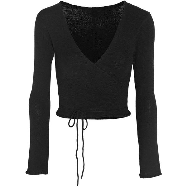 Ballet Beautiful Belle wrap-front knitted jersey top ($105) ❤ liked on Polyvore featuring tops, shirts, dance, ballet, cardigans, black star shirt, black jersey top, ballet tops, wrap tie top e wrap top