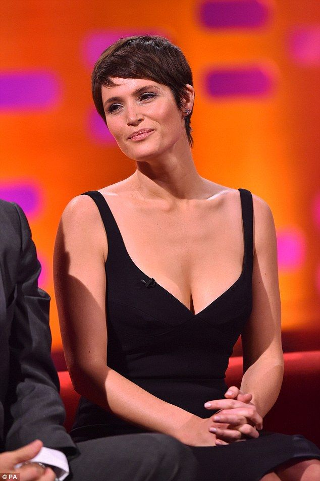 Top of the crops: Gemma Arterton sports a new short hairdo during an appearance on The Graham Norton Show to air on BBC1 on Friday