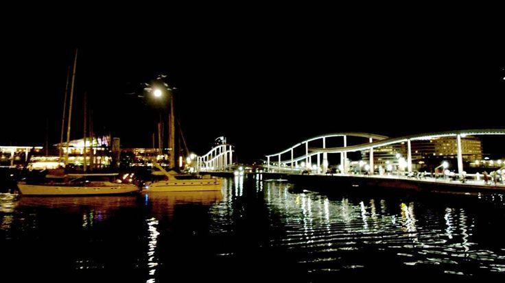 Port hidden in the dark. Barcelona, Spain.