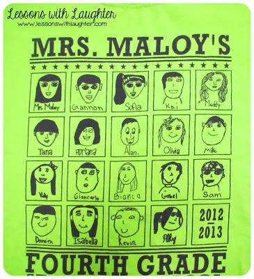 I'm SO doing this for the end of the school year! Class t-shirts! Students draw their own portrait. $7/shirt