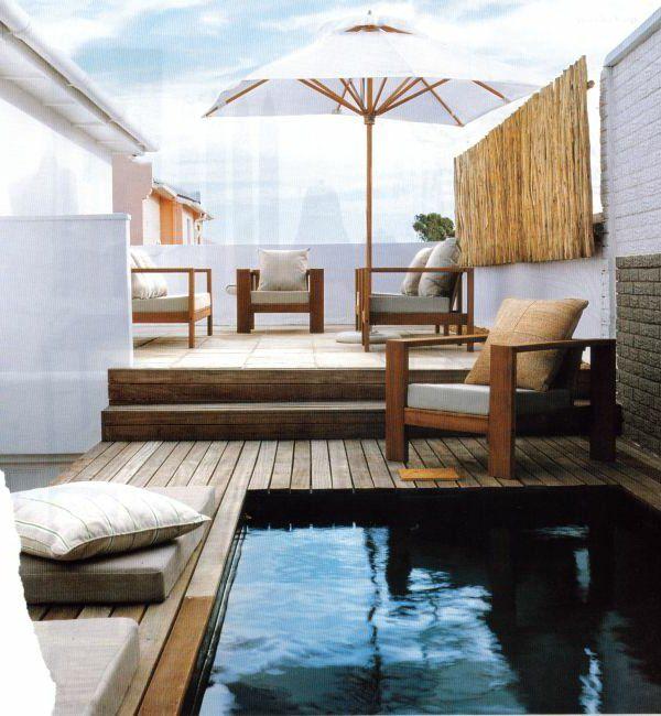 petite piscine hors sol, terrasse de toit unique avec petite piscine