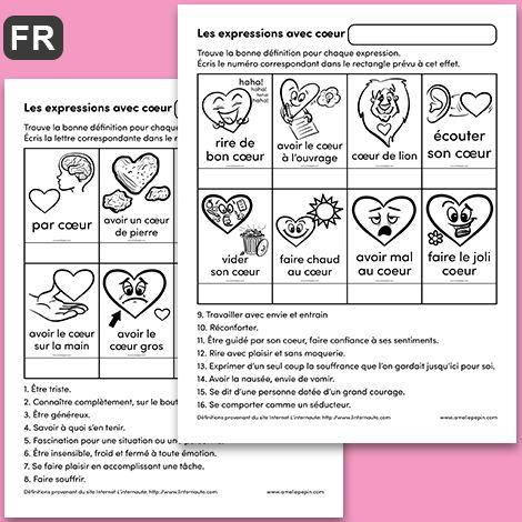 Fichiers PDF téléchargeables Activité + corrigé Langue: Français En noir et blanc 2 pages Taille d'une page: 8,5 X 11 po. L'enfant trouve la bonne définition pour chaque expression en écrivant le numéro correspondant au bon endroit.