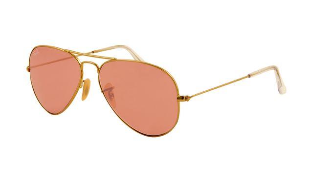 Ray Ban RB3025 Aviator Sunglasses Gold Frame Crystal Pink Polarised
