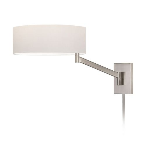 Modern Swing Arm Lamp with White Shade in Satin Nickel Finish | 7080.13 | Destination Lighting