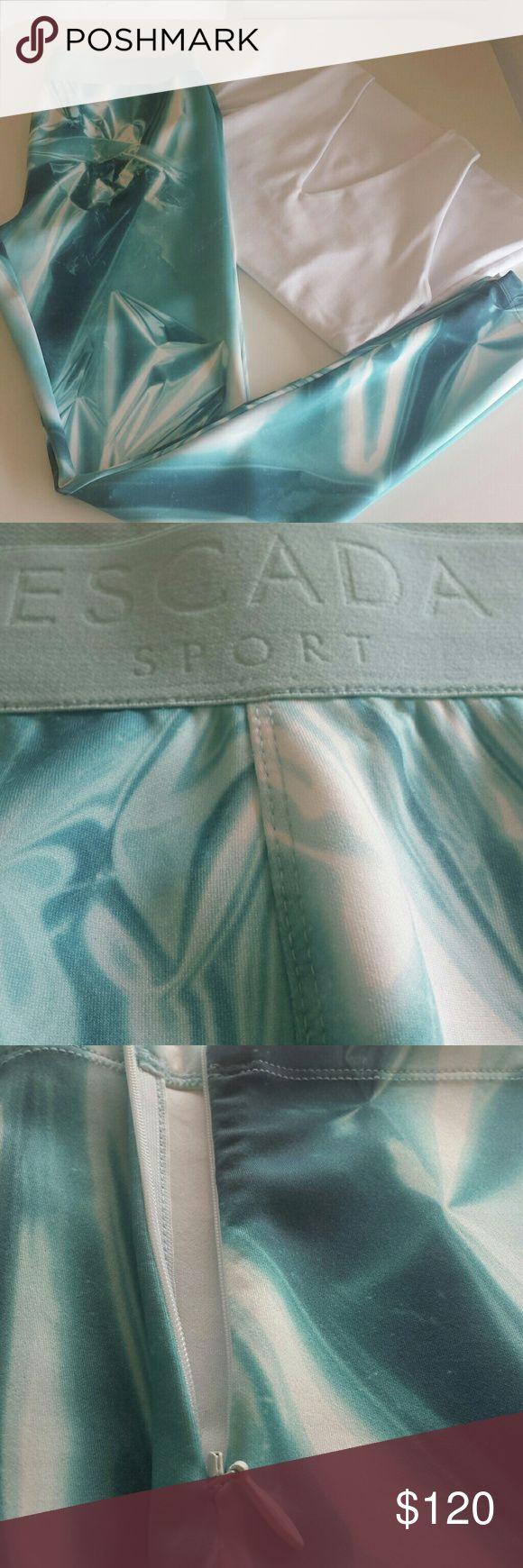 ESCADA SPORT EPRINTA - Leggings - turquoise ESCADA SPORT leggings. Ankle zipper option.  90% polyester 10% spandex. Escada Pants Leggings