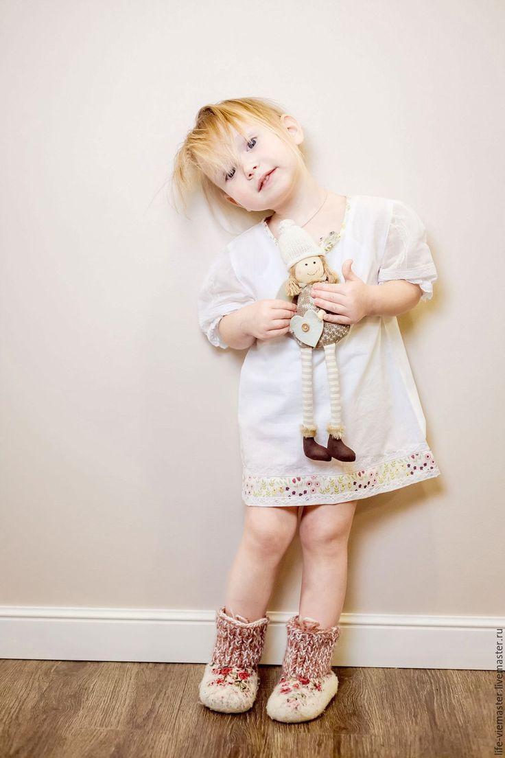 Купить Крестильная рубашка для девочки, с косынкой - белый, в горошек, винтажная белая блузка, блузка для девочки