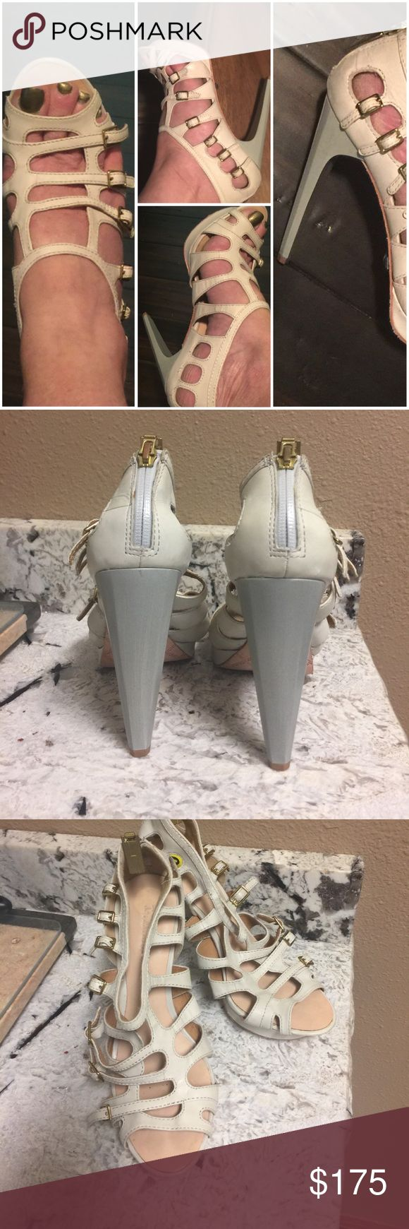 L.A.M.B. High heels L.A.M.B. Hot- Hot - Hot Cream strappy leather 5 inch heel gold buckle zip back shoes. Brand New - Size 9 L.A.M.B. Shoes Heels