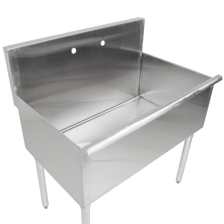 """Equip your business with a convenient, economical, and versatile sink with the Regency 36"""" x 24"""" one compartment stainless steel commercial sink! This sink features one 36"""" x 24"""" bowl that is 14"""" deep to accommodate a variety of large items for quick washing or rinsing. Its 16-gauge type 430 stainless steel construction ensures long-lasting durability, while the galvanized legs provide reliable stability. Thanks to the adjustable plastic bullet feet, you'll be abl..."""