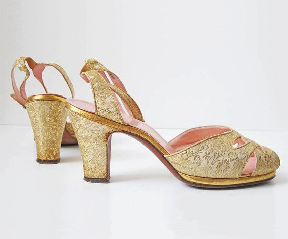 1940s Shoes/ 40s/ Peeptoe Gold Glam Heels by SarahKates on Etsy